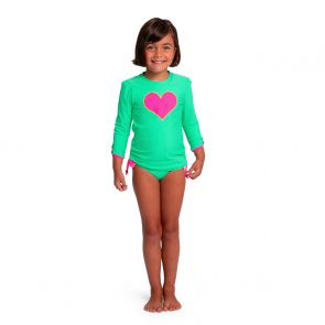 Girls Mint Green Heart Long Sleeve Rash Vest