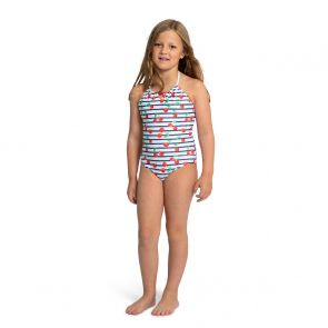Girls Navy Stripe Cherries Beaded Swimsuit