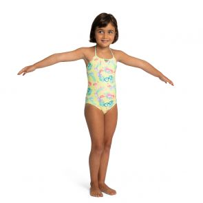 Girls Yellow Miami Shades Beaded Swimsuit