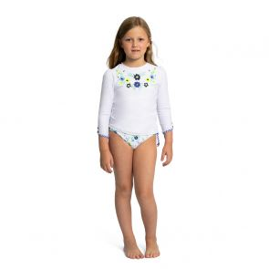 Girls White Mexicana Long Sleeve Rash Vest