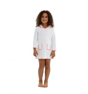 Girls White Towelling Hooded Dress