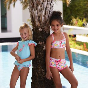 Girls Pink Aloha Fruit Swim Shorts