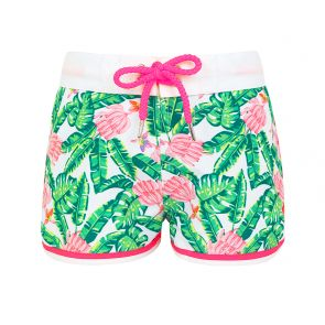 Teen Girls Green Banana Palm Surf Shorts