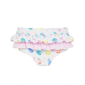 Baby Girls White Fruit Friends Frill Nappy Pant