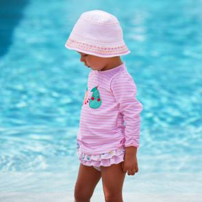 Baby Girls Pink Stripe Fruit Friends Rash Vest