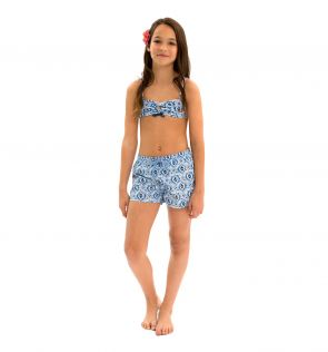 Girls Blue Ikat Swim Shorts