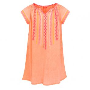 Girls Neon Peach Embroidered Cheesecloth Dress