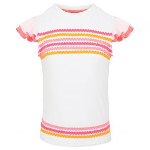 Girls White Ric Rac Flutter Sleeve Rash Vest