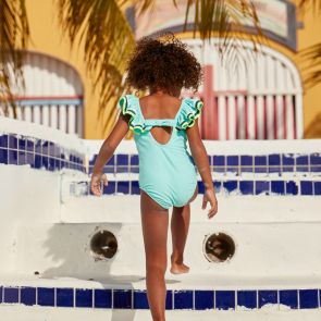 Girls Aqua Ric Rac Off Shoulder Swimsuit