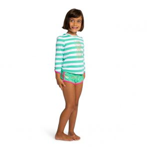 Girls Green Stripe Gold Pineapple Long Sleeve Rash Vest