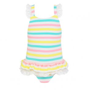 Baby Girls Multi Stripe Broderie Swimsuit