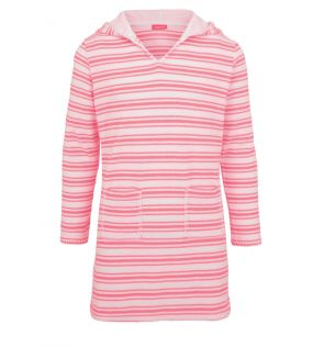 Girls Pink and White Striped Towelling Dress