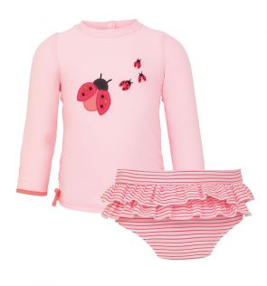 Baby Girls Pink Ladybird Rash and Frill Pant Set