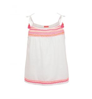 Girls White Ric Rac Cotton Top and Shorts Set