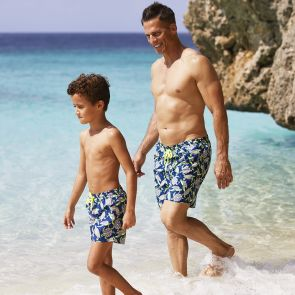 Boys Navy Psychedelic Turtles Swim Shorts