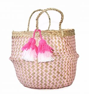 Small Pink Straw Basket with Tassel