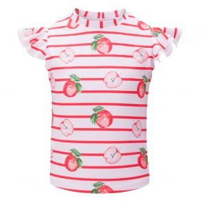Girls Red Apple Blossom Flutter Sleeve Rash Vest