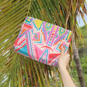 Pink Aztec Woven Wash Bag