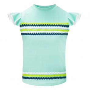 Girls Aqua Ric Rac Short Sleeve Rash Vest