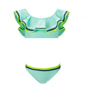 Girls Aqua Ric Rac Off Shoulder Bikini