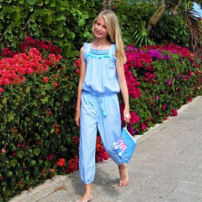Girls Blue Flutter Sleeve Jumpsuit