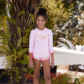Girls Pink Tropical Long Sleeve Rash Vest