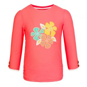 Girls Peach 70s Floral Long Sleeve Rash Vest