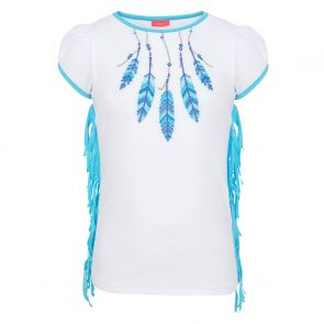 Girls White Feathers Fringed Short Sleeve Rash Vest