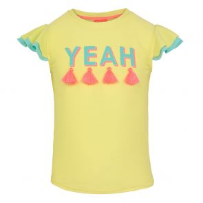 Girls Yellow 'Yeah' Short Sleeve Rash Vest