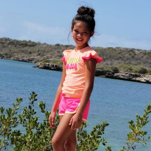 Girls Peach 'Wild' Short Sleeve Rash Vest