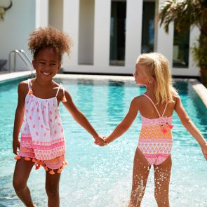 Girls Pink Indian Block Print Strappy Swimsuit
