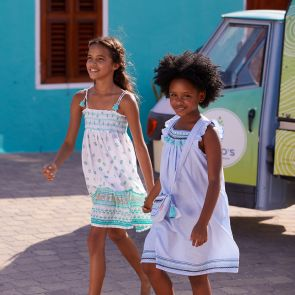Girls Aqua Gold Block Print Bell Dress