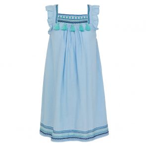 Girls Blue Embroidered Flutter Sleeve Dress
