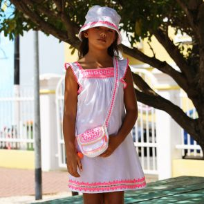 Girls White Embroidered Flutter Sleeve Dress