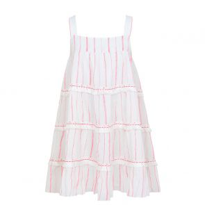 Girls Pink Stripe Fringed Tier Dress