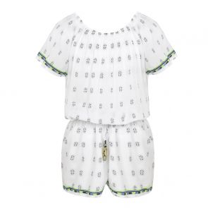 Girls White Embroidered off Shoulder Playsuit