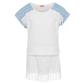 Girls White Fringe Embroidered Jersey Dress