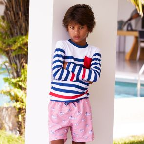 Boys Navy Wide Stripe Long Sleeve Rash Vest