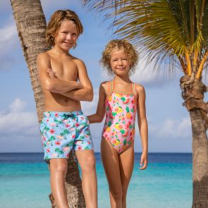 Boys Blue Flamingo Swim Shorts
