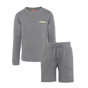 Boys Light Grey Neon Detail Sweat Set