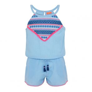 Teen Girl Blue Embroidered Playsuit