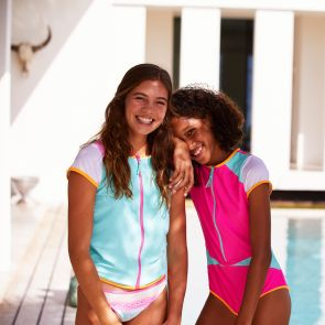 Teen Girls Pink Colour Block Surf Suit