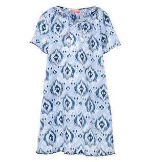 Girls Blue Ikat Kaftan Dress