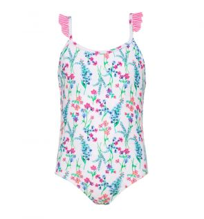 Girls White English Floral Frill Strap Swimsuit