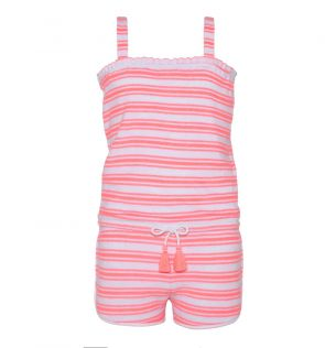 Girls Pink Towelling Playsuit