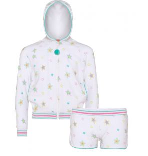 Girls White Rainbow Star Towelling Set