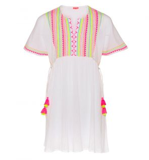 Youth Girls White Tribal Smocked Top Cheesecloth Dress