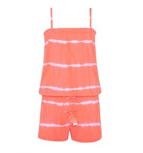 Teen Girls Neon Coral Tie Dye Playsuit