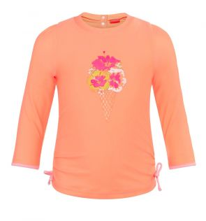 Baby Girls Orange Hibiscus Long Sleeve Rash Vest