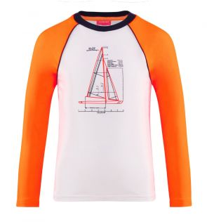 Boys White Leonardo Boats Long Sleeve Raglan Rash Vest